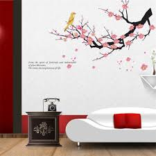 wall decor stickers cheap large elegant tree with bird rabbit