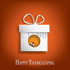 thanksgiving card vector design with traditional turkey in gift