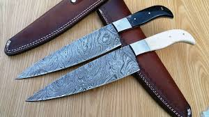 2 pcs stunning custom made damascus steel chef knives with leather