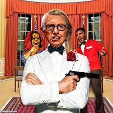 bernie sanders and hillary clinton hybrid president with a gun in