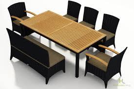 7 Piece Wicker Patio Dining Set - harmonia living arbor coffee bean 7 piece bench dining set