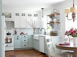 neutral kitchen ideas soft blue cabinet and brown textured rug for classic kitchen
