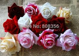 velvet roses high quality 20pcs lot dia 6 5cm hexagon velvet roses single