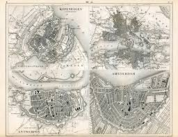 Copenhagen Map 1851 German Vintage Map Of European Cities Copenhagen