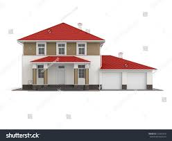 traditional twostory house red roof builtin stock illustration