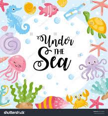 under sea card vector illustration different stock vector