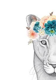 linda the lioness with flower crown u2013 dots by donna
