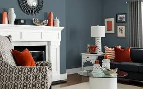modern living room with blue paint color scheme large living room