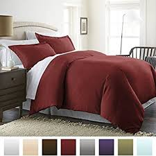 Brown And Cream Duvet Covers Amazon Com 1500 Thread Count Duvet Cover Queen Burgundy Home