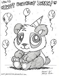 drawn birthday panda pencil and in color drawn birthday panda