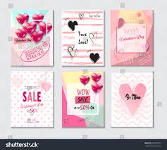id card sle template set valentines day card sale web stock vector 572030710