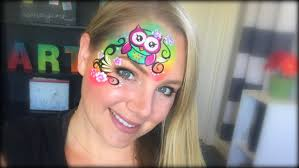 owl face painting using krvaline bright rainbow youtube