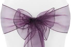 purple chair sashes organza sash plum at cv linens cv linens
