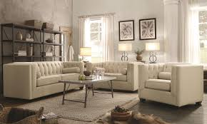 Charcoal Living Room Furniture Coaster Cairns Stationary Sofa With Tufted Back And Lumbar Pillows