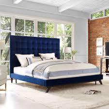 Velvet Sleigh Bed Tov Furniture Tov B18 Eden Tufted Headboard King Bed In Navy Velvet