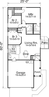 narrow house plans with garage floor plan of cabin cottage ranch traditional house plan