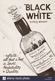 advertisement for black and white scotch whisky from the london