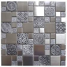 metal tiles for kitchen backsplash pattern stainless steel and pewter accents metal tile