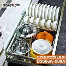 aliexpress com buy kitchen cabinet pull out stainless steel aliexpress com buy kitchen cabinet pull out stainless steel multi function sliding drawer basket with bowls rack and chopsticks holder bs600a from