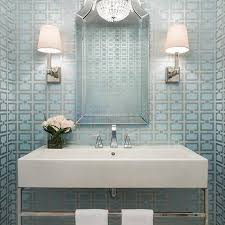 silver metallic wallpaper contemporary bathroom belmont