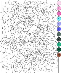 hard color by number worksheets rose printable color by number