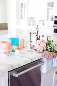 Pink Peonies Bedroom - kitchen island with apron sink and faucet pink peonies