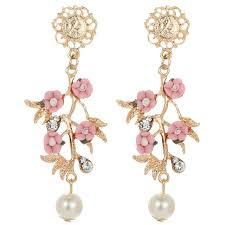 earrings s hot elegance women s fashion pink flower earrings new arrival with