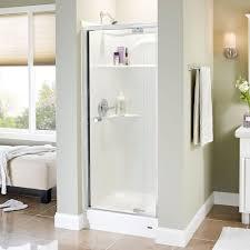 delta silverton 31 in x 66 in semi frameless pivot shower door