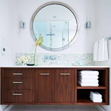 Small Modern Bathroom Vanity by Varnished Wooden Countertop Cabinets Towel Rail Ceiling Light