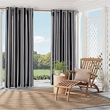 Outdoor Cabana Curtains 1pc 95 Black Stripe Gazebo Curtain Single Panel Outdoor Pergola