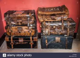 a collection of old antique luggage leather suitcases luggage