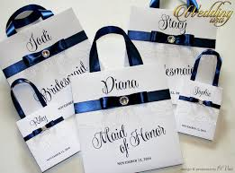bridal party gift bags personalized bridesmaid gift bags with white lace navy blue