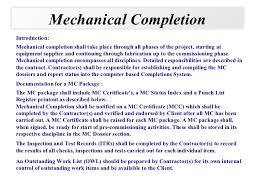 completed definition mechanical completions