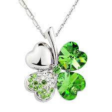 green fashion necklace images Lucky four leaf clover crystal pendant fashion jewelry necklace jpg