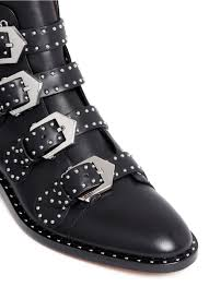buckle biker boots givenchy studded leather ankle boots in black lyst