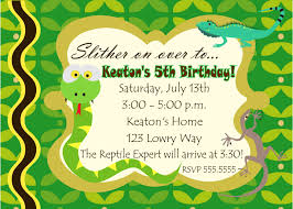 digital reptile snake photo birthday party invitation you print