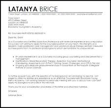 counselor cover letter sample livecareer