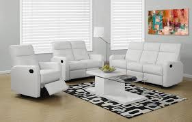 White Recliner Sofa Modular 3 Bonded Leather Reclining Sofa With Button Tuft