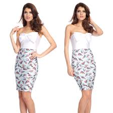 fashion sweetie women celebrity big flower printed chest bodycon