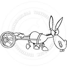 cartoon mule pulling a wagon black and white line art by ron