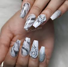 marble nails and 3d roses acrylicnails coffinnails marblenails