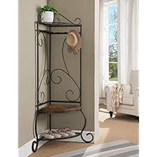 amazon com sei black metal entryway storage bench with coat rack
