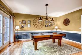 dining room redecorated and turned into a billiard room