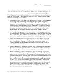 staff confidentiality agreement employee non disclosure agreement