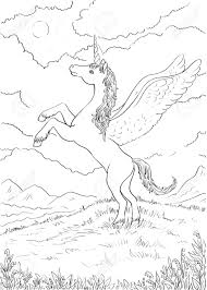 hand drawn magic unicorn for children coloring page with high