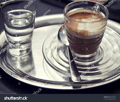 espresso macchiato espresso macchiato on metall tray glass stock photo 381391657