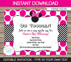 2nd Birthday Invitation Card Minnie Mouse Party Invitations Template U2013 Pink Minnie Mouse