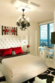 Bold Black And White Bedrooms With Bright Pops Of Color - White and red bedroom designs
