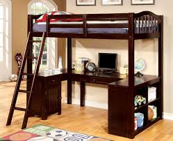espresso wood twin loft bed with u shaped desk underneath