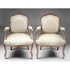 pair of 19th c painted louis xv fauteuils a la reine or chairs
